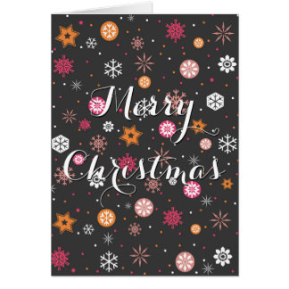 """Festive """"Merry Christmas"""" snowflakes glowing stars Card"""