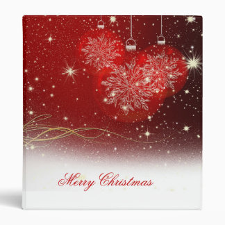 "Festive ""Merry Christmas"" snowflakes ornaments 3 Ring Binders"
