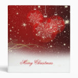 "Festive ""Merry Christmas"" snowflakes ornaments 3 Ring Binders"