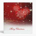 """Festive """"Merry Christmas"""" snowflakes ornaments Vinyl Binder"""