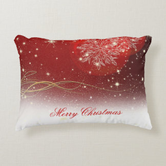 """Festive """"Merry Christmas"""" snowflakes ornaments Accent Pillow"""