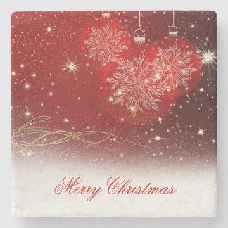 "Festive ""Merry Christmas"" snowflakes ornaments Stone Beverage Coaster"