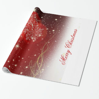 "Festive ""Merry Christmas"" snowflakes ornaments Gift Wrapping Paper"