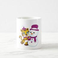 Festive Merry Christmas Snowman Mugs