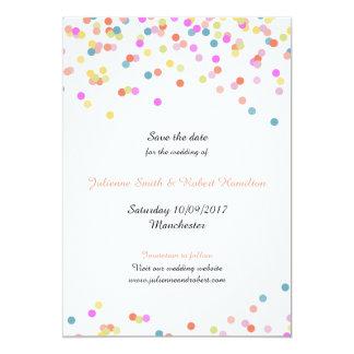 Festive Modern Confetti Wedding Save the Date Card