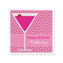 Festive Modern Polka Dot Martini Custom Birthday Napkin