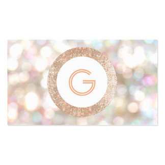 Festive Monogram Bokeh and Rose Gold  Faux Sequin Business Card