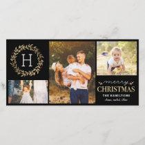 Festive Monogram Editable Color Christmas Card
