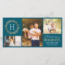 Festive Monogram Editable Color Holiday Card