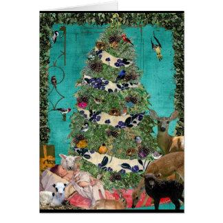 Festive nativity scene greeting card