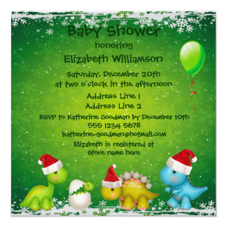Festive Newly Hatched Baby Dino Baby Shower Invitation