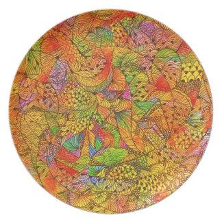 Festive Orange Doodle Dinner Plate