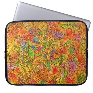 Festive Orange Doodle Laptop Sleeve
