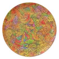 Festive Orange Doodle Melamine Plate