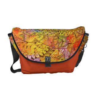 Festive Orange Doodle Messenger Bags
