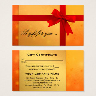 Festive Orange Gold Bow Gift Certificate Template