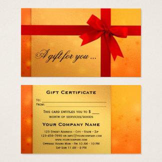 Festive Orange Gold Bow Gift Certificate Template