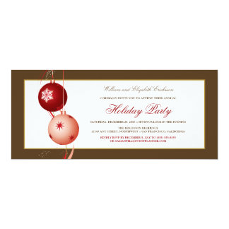Festive Ornaments Holiday Party Invitation (brown)