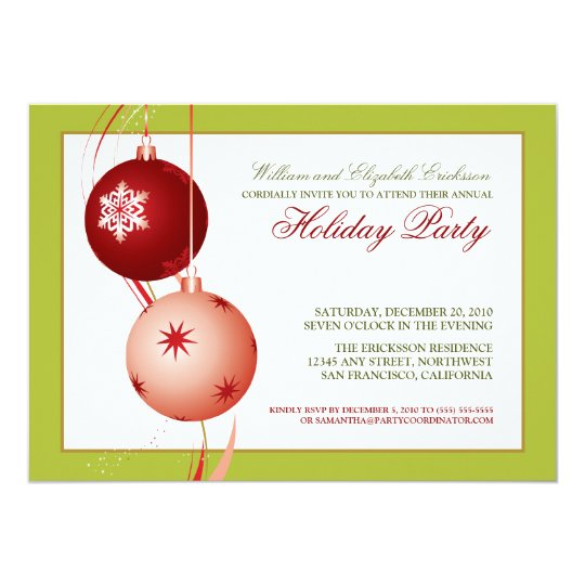 Festive Ornaments Holiday Party Invitation (lime)