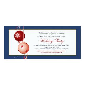 Festive Ornaments Holiday Party Invitation (navy)