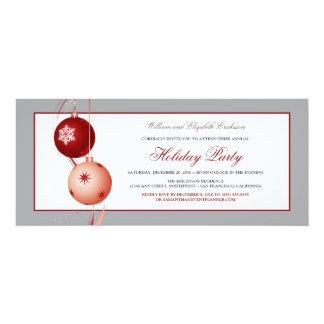 Festive Ornaments Holiday Party Invite (silver)
