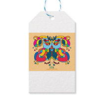 festive owl going to a party gift tags