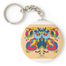 festive owl going to a party keychain