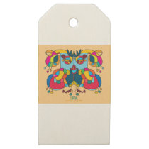 festive owl going to a party wooden gift tags