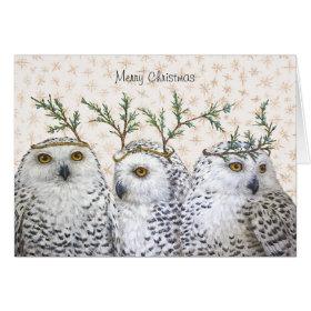 Festive owls on snow Christmas card