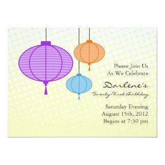 Festive Paper Lanterns Birthday Party Invites
