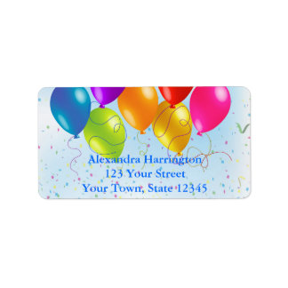 Festive Party Balloons, Confetti Label