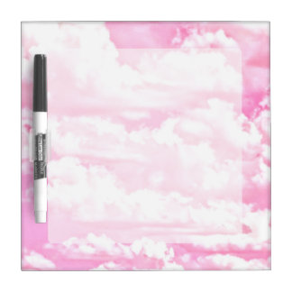 Festive Pastel Pink happy Clouds Dry-Erase Board