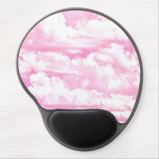 Festive Pastel Pink happy Clouds Gel Mouse Pad