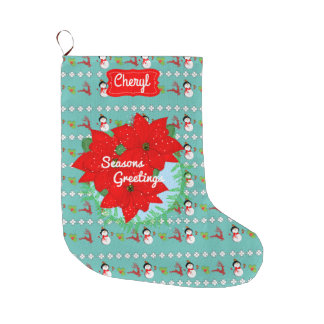 Festive Pattern Poinsettia Red Christmas Flowers Large Christmas Stocking