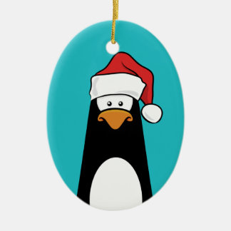 Festive Penguin in a Santa Hat (blue) Ceramic Ornament