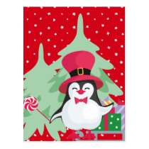 Festive Penguin with Sleigh Postcard