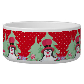 Festive Penguin with Sleigh - Red Bowl