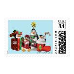 Festive Penguins Postage Stamps