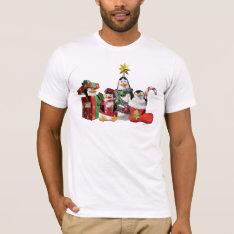 Festive Penguins T-shirt at Zazzle