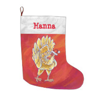 Festive Personalized Chicken Christmas Large Christmas Stocking