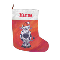 Festive Personalized Cow Christmas Large Christmas Stocking