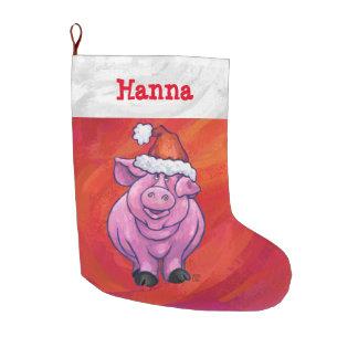 Festive Personalized Pig Christmas Large Christmas Stocking