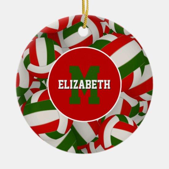 festive personalized red white green volleyball ceramic ornament
