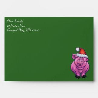 Festive Pig in Santa Hat on Green Envelope