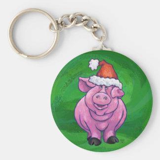 Festive Pig in Santa Hat on Green Keychain