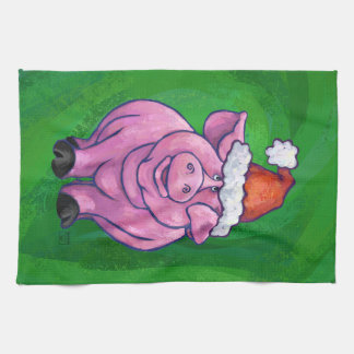 Festive Pig in Santa Hat on Green Kitchen Towel