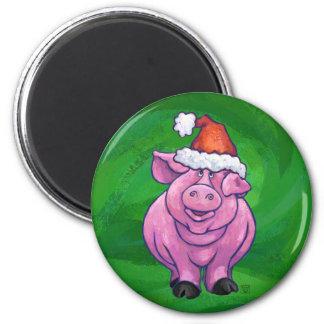 Festive Pig in Santa Hat on Green Magnet
