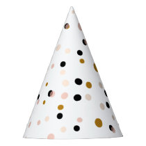 Festive Pink and Gold Confetti Dots Modern Party Hat