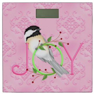Festive Pink Chickadee Joy Christmas Holiday Bathroom Scale