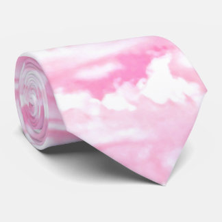Festive Pink Clouds Neck Tie